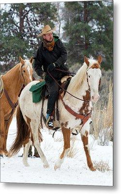 Winter Cowboy Metal Print