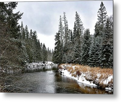Metal Print featuring the photograph Winter Creek In Adirondack Park - Upstate New York by Brendan Reals