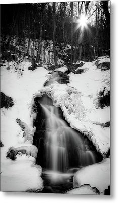 Metal Print featuring the photograph Winter Falls With Sun by Alan Raasch