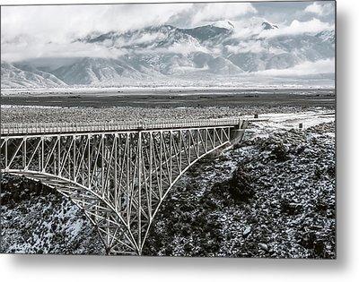 Metal Print featuring the photograph Winter Gorge Bridge  by Britt Runyon