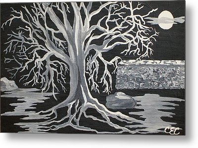 Winter Moon Metal Print by Carolyn Cable