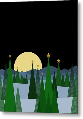 Winter Night Full Moon Metal Print by Val Arie