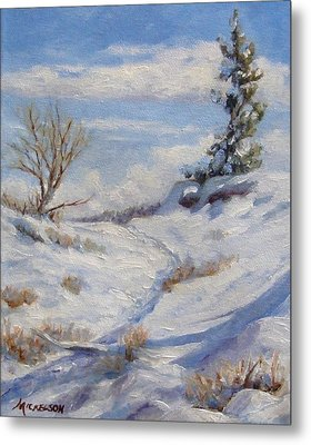 Winter Path Metal Print by Debra Mickelson