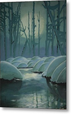 Metal Print featuring the painting Winter Quiet by Jacqueline Athmann