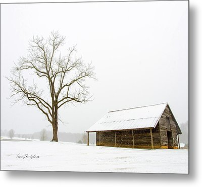 Winter Storm On The Farm Metal Print by George Randy Bass