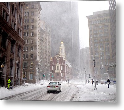 Winter Storm Stella Hitting The Boston State Street Metal Print by Toby McGuire