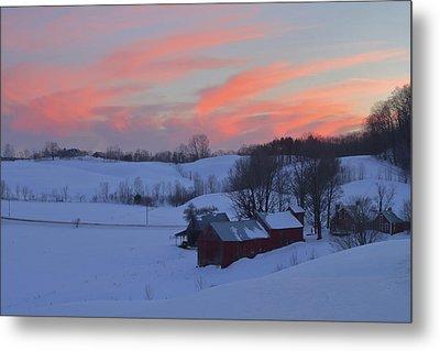 Winter Sunset At Jenne Farm Vermont Metal Print by John Burk