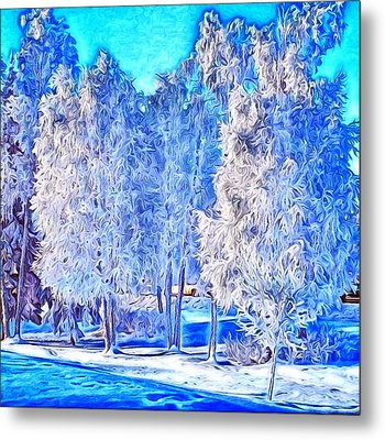 Metal Print featuring the digital art Winter Trees by Ron Bissett