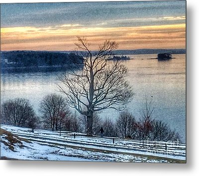 Winter Twilight At Fort Allen Park Metal Print by Patricia E Sundik