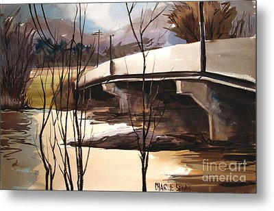 Wintry Wabash Flooding Framed And Matted Metal Print by Charlie Spear