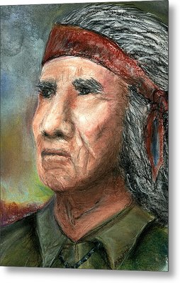 Metal Print featuring the pastel Wisdom by Marilyn Barton