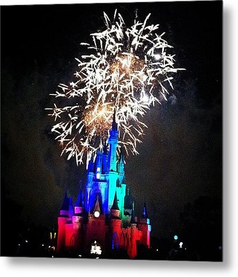 Wishes Fireworks Show Metal Print by Lea Ward