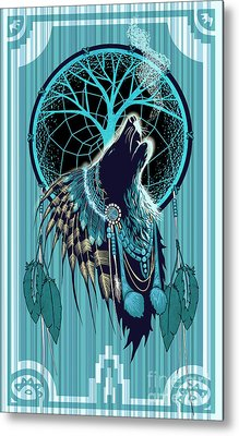 Wolf Indian Shaman Metal Print by Sassan Filsoof