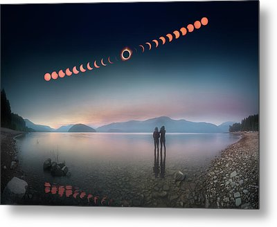 Woman And Girl Standing In Lake Watching Solar Eclipse Metal Print
