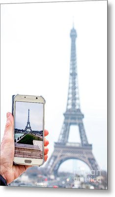 Woman Anonymous Photographing The Eiffel Tower. Paris. France. Europe. Metal Print