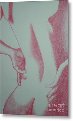 Metal Print featuring the drawing Woman Back Red by Fanny Diaz