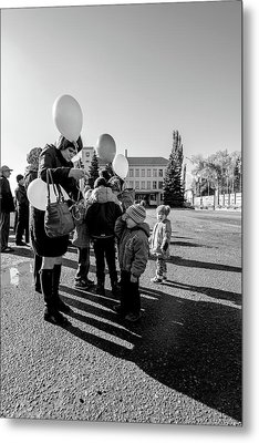 Metal Print featuring the photograph Woman Balloon And Boy by John Williams