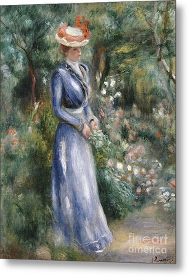 Woman In A Blue Dress Standing In The Garden At Saint-cloud Metal Print