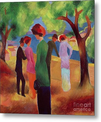 Woman In A Green Jacket Metal Print by August Macke
