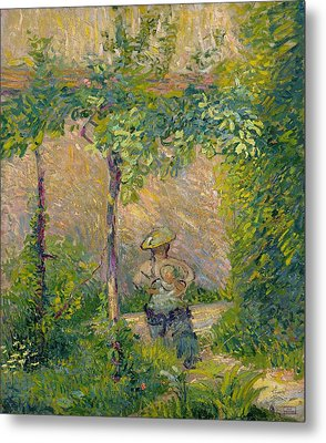 Woman In The Garden Metal Print by Hippolyte Petitjean