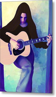 Woman Playing Guitar Metal Print