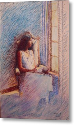 Woman Reading By Window Metal Print