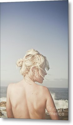 Woman Relaxing On The Beach Metal Print