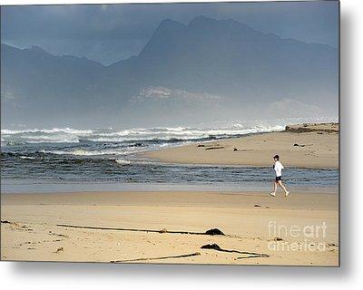 Woman Running In The Morning By Flamingo Lake Estuary Metal Print by Sami Sarkis