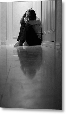 Woman Sitting In Corridor With Head In Hands Metal Print by Sami Sarkis
