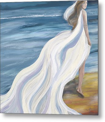 Woman Strolling On The Beach Metal Print