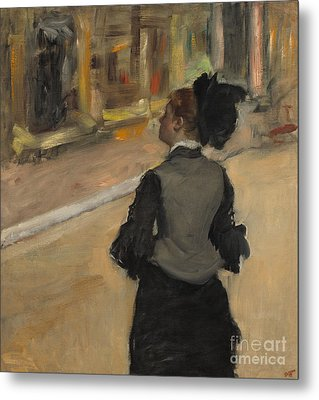 Woman Viewed From Behind, Visit To The Museum Metal Print