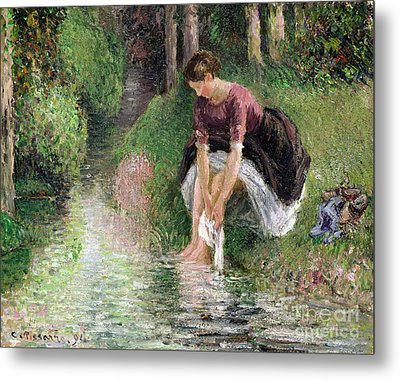 Woman Washing Her Feet In A Brook Metal Print by Camille Pissarro