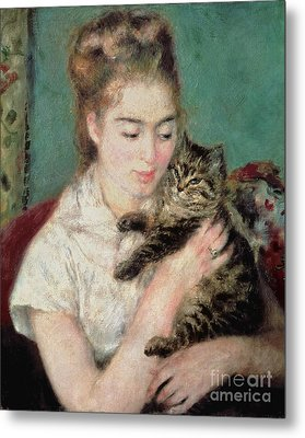 Woman With A Cat Metal Print by Pierre Auguste Renoir