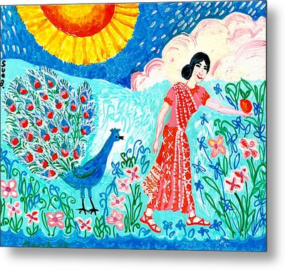 Woman With Apple And Peacock Metal Print