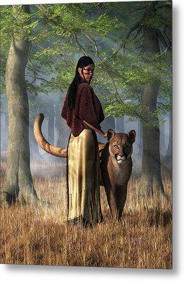 Woman With Mountain Lion Metal Print by Daniel Eskridge