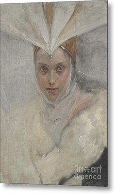 Woman With Osprey Headdress And White Fur Collar, 1897 Metal Print by Edwin Austin Abbey
