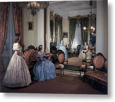 Women In Period Costumes Sit In An Metal Print by Willard Culver