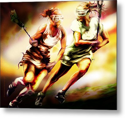 Women In Sports - Lacrosse Metal Print