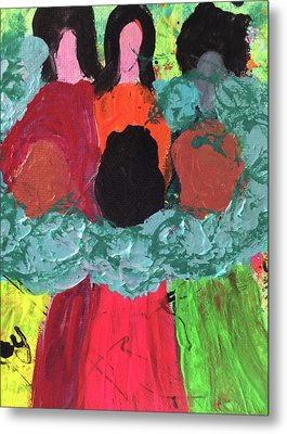 Women Together With Teal Metal Print