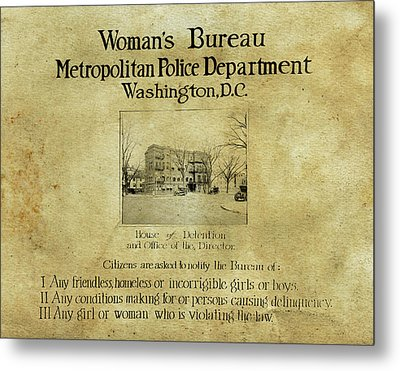 Women's Bureau House Of Detention Poster 1921 Metal Print by Anthony Murphy