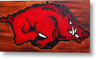 Metal Print featuring the painting Woo Pig Sooie by Laura  Grisham