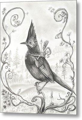 Wood Elf Warrior On Stellar's Jay Metal Print