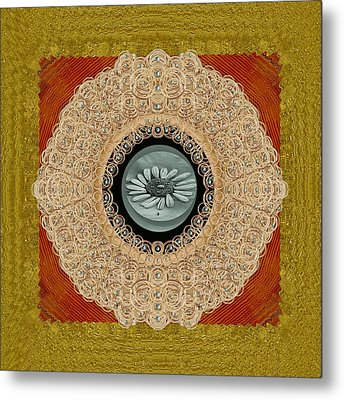 Wood Lace And Flowers Of Seed Popart Metal Print