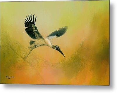 Wood Stork Encounter Metal Print