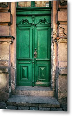 Wooden Ornamented Gate In Green Color Metal Print
