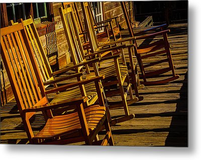 Wooden Rocking Chairs Metal Print