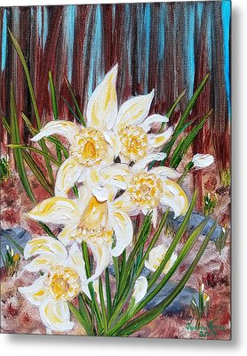 Metal Print featuring the painting Woodland Daffodils by Judith Rhue