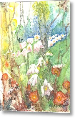 Metal Print featuring the painting Woodland Garden by Renate Nadi Wesley