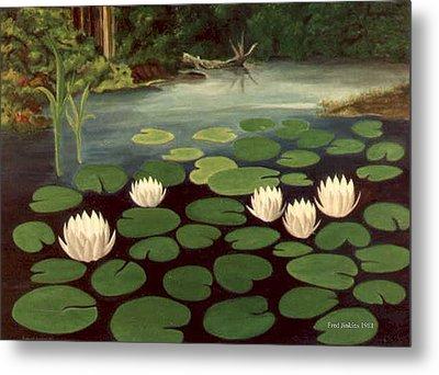 Woodland Hidden Pond Metal Print by Fred Jinkins