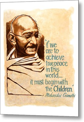 Words Of Peace Man Of Peace  Mohandas Gandhi Metal Print